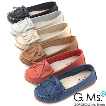 G.Ms. MIT系列-舒適牛皮流蘇蝴蝶結莫卡辛鞋-6色