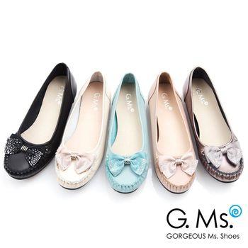 G.Ms. MIT系列-燙鑽蝴蝶結莫卡辛低跟鞋-5色
