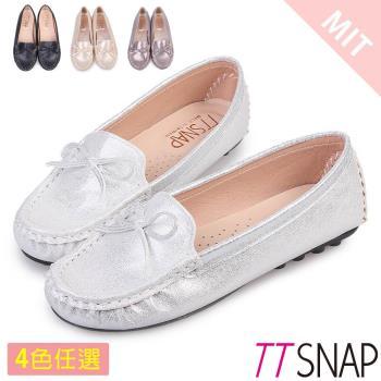 TTSNAP莫卡辛-MIT蝴蝶結金屬閃料真皮豆豆鞋 黑 / 銀 / 金 / 錫