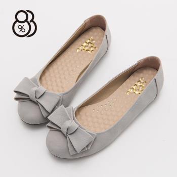 88% MIT台灣製蝴蝶結素色圓頭包鞋防滑豆豆底娃娃鞋
