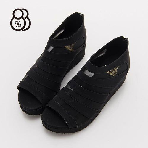 88% 薄紗透視後拉鍊穿拖5CM厚底坡跟楔型鞋露趾魚口鞋