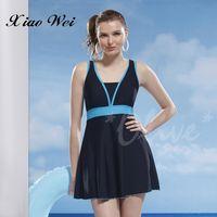 泳之美 清新氣質時尚加大碼連身裙泳裝 NO.2357-3L