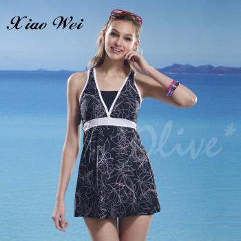 泳之美 俏麗氣質時尚二件式連身裙泳裝 NO.6923