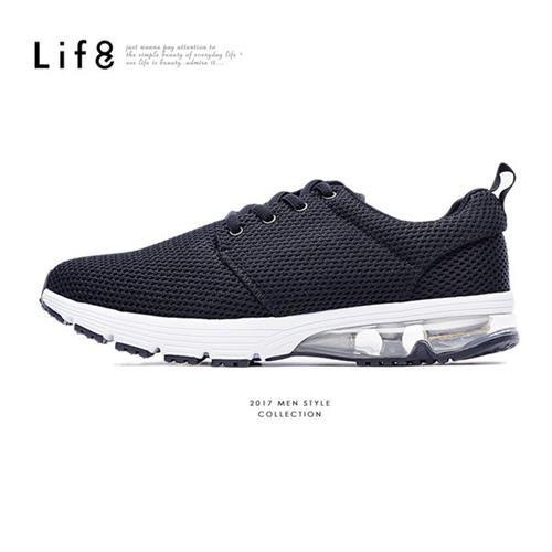 Life8-透氣網布。輕量。半氣墊AIR CUSHION運動鞋-09515-黑色