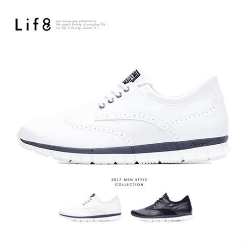 Life8-Casual 輕量 牛紋面料 德比光束休閒鞋-09592-白色