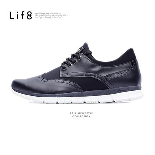 Life8-Casual 輕量 牛紋面料 德比光束休閒鞋-09592-黑色