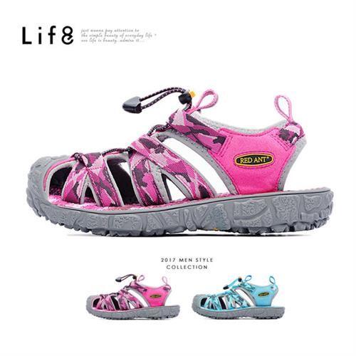 Life8-Red Ant聯名款 迷彩織布 360度 透氣墊溯溪鞋鞋-09662-桃紅