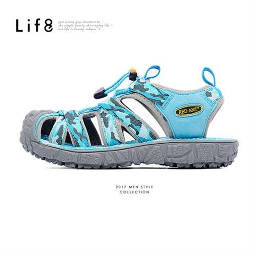 Life8-Red Ant聯名款 迷彩織布 360度 透氣墊溯溪鞋鞋-09662-藍色
