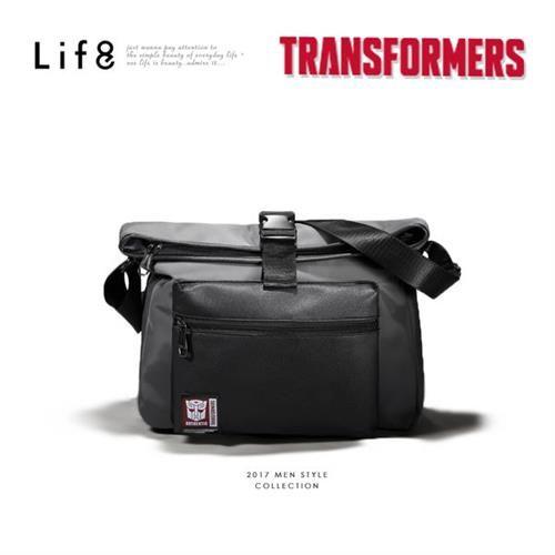Life8-變形金剛 防滲透混接皮 收納斜肩包-06375-淺灰