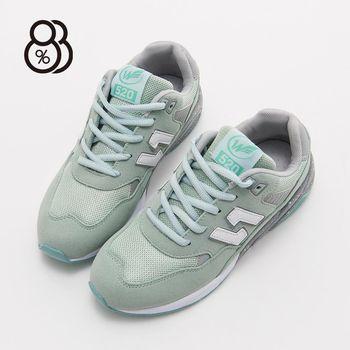 88% 韓版人氣N字鞋透氣網布拼接撞色綁帶休閒運動鞋慢跑鞋