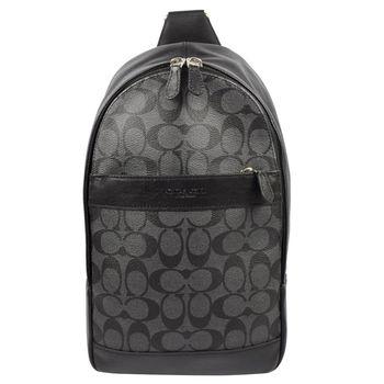 COACH 54787 經典LOGO防水PVC皮革拼接單背後背包.黑灰