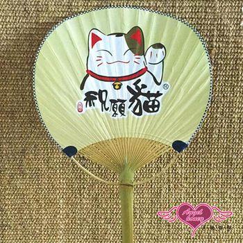 天使霓裳 扇子 祝願貓兒 單面印花和風扇角色扮演道具配件(黃F)