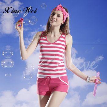 泳之美 粉色海軍風時尚二件式連身褲泳裝 NO.8535