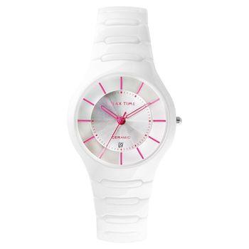 Relax Time 經典藍寶石鏡面陶瓷手錶 白x桃紅時標 37mm RT-26-C5