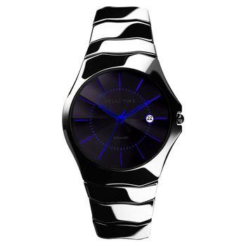 Relax Time 時尚藍寶石陶瓷手腕錶 黑x藍時標 RT-37-6