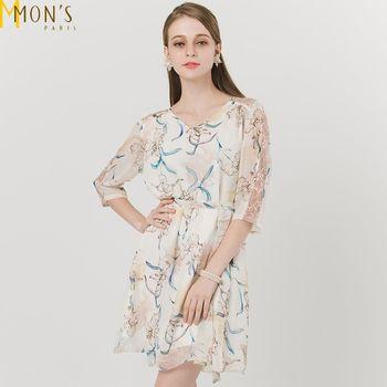 MONS精品印花v領蕾絲顯瘦洋裝