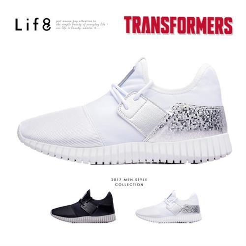 Life8-變形金剛 雙色金屬網布 後套片3D彈簧運動鞋-09642-白色