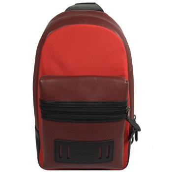 COACH 56877 經典LOGO尼龍牛皮拼接單背後背包.紅咖