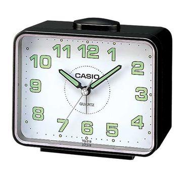 【CASIO 】夜間指針桌上方型簡約鬧鐘-黑殼白面(TQ-218-1B)