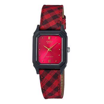 【CASIO】復古花蕊淑女腕錶 - 格紋X紅 (LQ-142LB-4A)