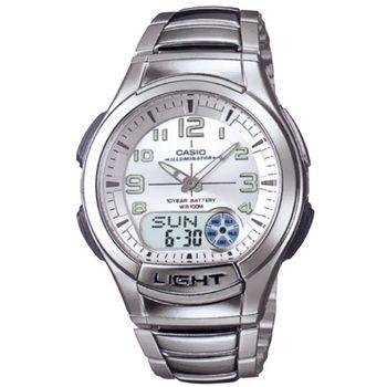 【CASIO】 超世代科技雙顯時區不銹鋼帶錶-白面 (AQ-180WD-7B)