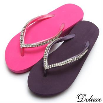 【Deluxe】海灘甜心水鑽夾腳拖鞋(桃-紫)