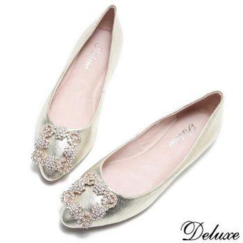 【Deluxe】全真皮法式自信粉領水鑽尖頭包鞋(金)
