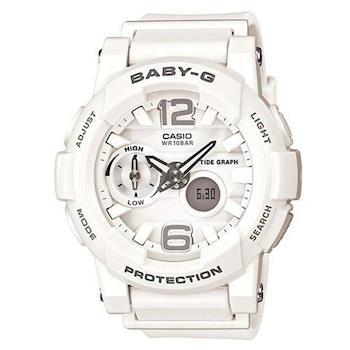 【CASIO】BABY-G 極限運動女孩衝浪板造型概念錶-白 (BGA-180-7B1)