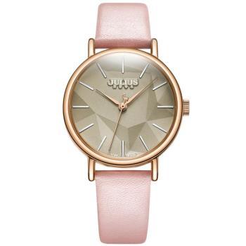 JULIUS 凝結日光層次錶盤設計皮錶帶腕錶(五色/34mm)