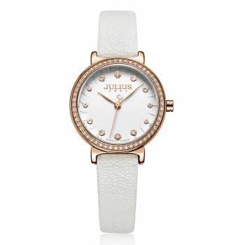 JULIUS 聚利時 翩翩花瓣舞鑽飾皮錶帶腕錶-(四色/28mm)