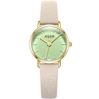 JULIUS聚利時 微漾幸福立體鏡面皮錶帶腕錶-(五色/26mm)