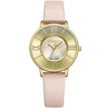 JULIUS聚利時 月光圓舞曲貝殼面皮錶帶腕錶-(五色/32mm)