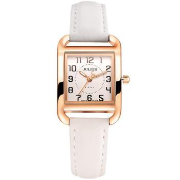 JULIUS聚利時 浪漫心計數字真皮腕錶-(白色/23x33mm)