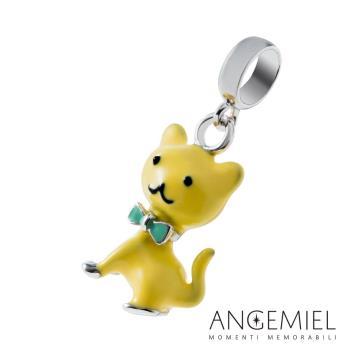 Angemiel安婕米 925純銀吊飾 藍領結貓咪