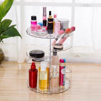美娜甜心-精品時尚化妝品首飾360度旋轉收納架/透明旋轉化妝盒