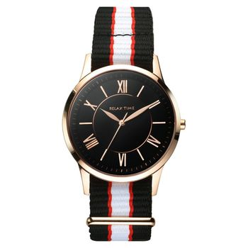 Relax Time 經典學院風格腕錶 黑x玫瑰金 36mm RT-58-6L