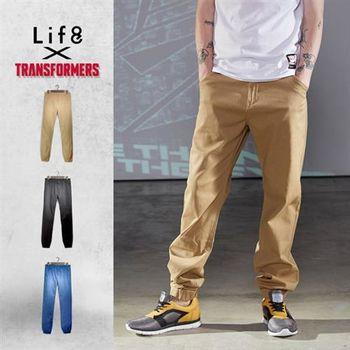 Life8-變形金剛 高磅水洗 磨毛縮口褲-02399-卡其色/黑色/深藍色