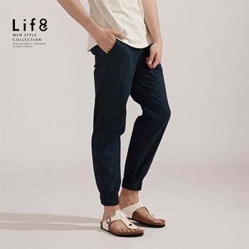 Life8-Casual 彈性棉質 織帶綁繩縮口長褲-02406-藍色