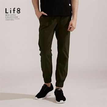 Life8-Casual 彈性棉質 織帶綁繩縮口長褲-02406-軍綠色