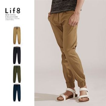 Life8-Casual 彈性棉質 織帶綁繩縮口長褲-02406-卡其色