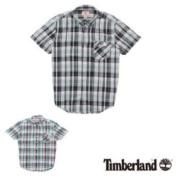 Timberland 男款格紋Coolmax棉麻混紡短袖襯衫