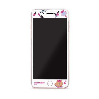 GARMMA LINE Friends CHOCO iPhone 7 Plus 5.5吋3D曲面珠光鋼化玻璃膜-甜美熊美