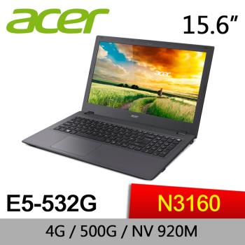 Acer宏碁 文書獨顯筆電 E5-532G-C61M 15/Celeron N3160/4G/500G/GeForce 920M 2G