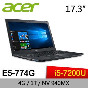 Acer宏碁 影音效能筆電 E5-774G-52PG  17.3/i5-7200U/4G/1TB/940MX 2G/DVD