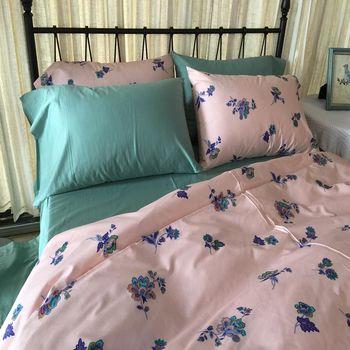 挪威森林-100%精梳純棉四件式雙人加大床包被套組_手繪設計_紫羅蘭