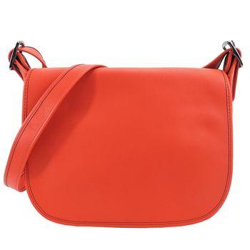COACH 專櫃款素色牛皮翻蓋斜背包(橘)