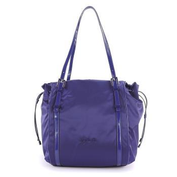 agnes b. 琺瑯扣飾束帶三層肩背包(大紫)