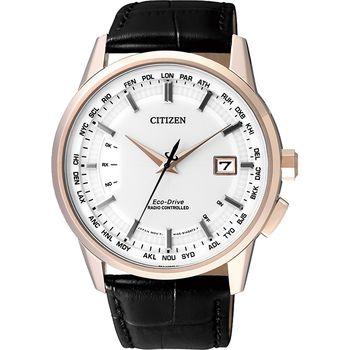 CITIZEN 星辰 光動能萬年曆 5局電波腕錶-白x玫瑰金框/43mm/CB0153-13A