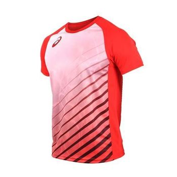 ASICS 男排球短袖T恤-短T T恤 慢跑 路跑 亞瑟士 紅