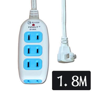 悠麗2P四插一燈延長線SD-5003L(6尺)